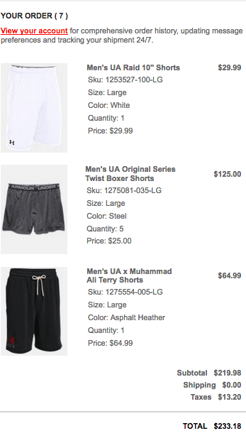 UA Underwear & Raid Purchase