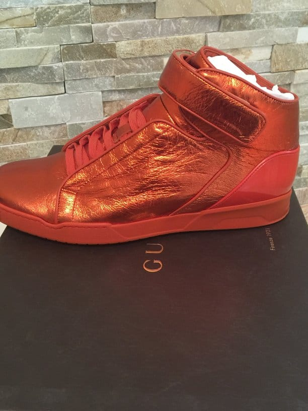 mens hi top gucci orange shoes