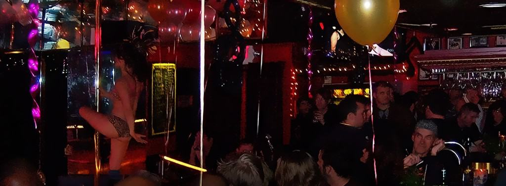 Los Angeles bachelor party visit to Jumbos Clown Room