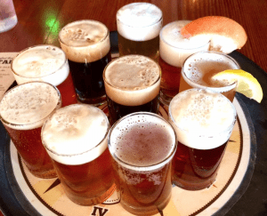 pints of craft beer on a tray