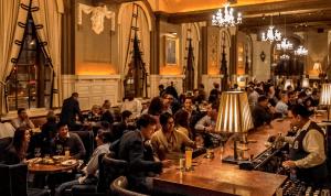 the popular oak long bar for martinis
