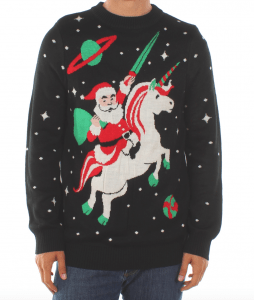 santa on a unicorn on a sweater