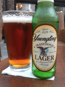 bottle and glass of yuengling's lager