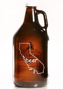 Craft beer Growler with outline of CA on it