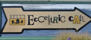 bell's eccentric cafe arrow sign
