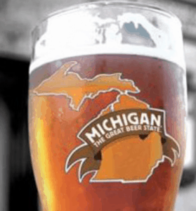 craft beer mug with michigan picture on it