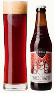 bottle and glass of Tröegenator