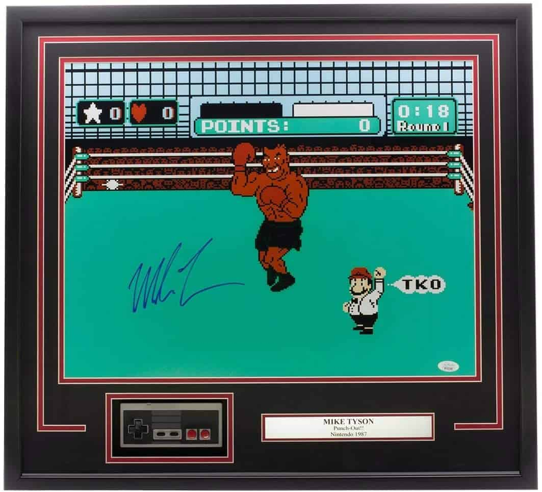mike tyson signed video game print